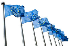 European Union flags isolated on white. Background Royalty Free Stock Images