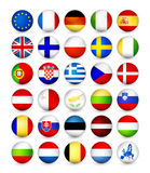 European Union Flags round badges Royalty Free Stock Image