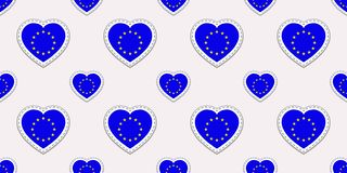 The European Union flags seamless pattern. Vector EU flag stikers. Love hearts symbols. Travel, sports pages, tourist, geographic, stock illustration