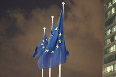 European Union flags fluttering Royalty Free Stock Images