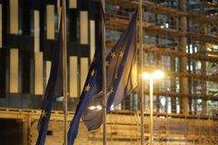 European Union flags fluttering Stock Photography