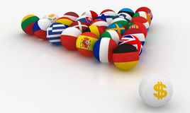 The European Union in the form of pyramids  billiard balls in front  the dollar threatened Stock Images