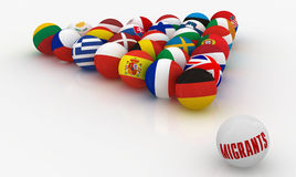 European Union in the form of pyramids  billiard balls with the problem  migrants Stock Photo
