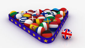 The European Union in the form of pyramids  billiard balls and the United Kingdom outside the Stock Photos