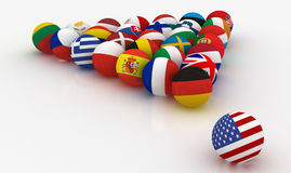 European Union in the form of pyramids of billiard balls - before the US threat - 3D illustration. The European Union in the form of pyramids of billiard balls Royalty Free Stock Photography