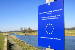 European Union funded walkway along the river Royalty Free Stock Photography
