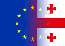 European union and georgia flags. Original photo graphic elaboration eu-georgia flags stock illustration