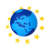 European Union Globe with Stars Stock Photo