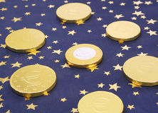 European Union Gold Euro Coin Concept Stock Photos