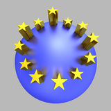 European Union golden stars blue planet Stock Photo