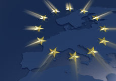 European Union Golden Stars theme. Golden stars flying over the europe Stock Illustration