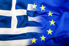 European Union and Greece. The concept of relationship between EU and Greece. Waving flag of EU and Greece. Stock Photos