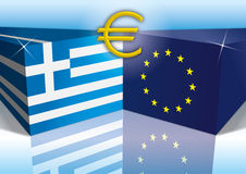 European union and greece flags Stock Photos