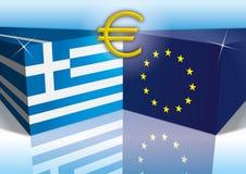 European union and greece flags Stock Photos