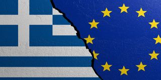 European Union and Greece flag, plastered wall background. 3d illustration. European Union and Greece relationship. Flags on plastered wall background. 3d Stock Photography