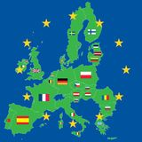 European union green map over blue stock photography