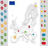 European Union Grey Map with markers Royalty Free Stock Photography