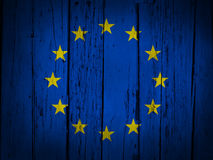 European Union Grunge Background. With EU flag painted on wooden aged wall Royalty Free Stock Images