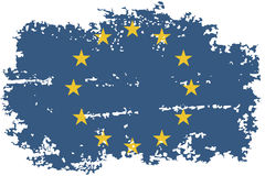 European Union grunge flag. Vector illustration. Royalty Free Stock Photos