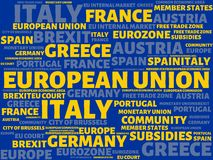 EUROPEAN UNION - image with words associated with the topic EUROPEAN_UNION, word cloud, cube, letter, image, illustration Royalty Free Stock Photography