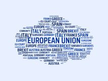 EUROPEAN UNION - image with words associated with the topic EUROPEAN_UNION, word cloud, cube, letter, image, illustration Royalty Free Stock Images