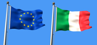 European union and italy  flag Stock Photography