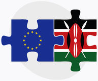 European Union and Kenya Flags in puzzle Royalty Free Stock Photos