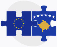 European Union and Kosovo Flags in puzzle Stock Photo
