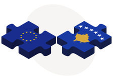 European Union and Kosovo Flags in puzzle Stock Image