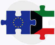 European Union and Kuwait Flags in puzzle Royalty Free Stock Images