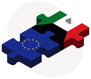 European Union and Kuwait Flags in puzzle Royalty Free Stock Photography