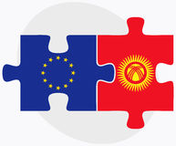 European Union and Kyrgyzstan Flags in puzzle Stock Photography