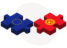 European Union and Kyrgyzstan Flags in puzzle Stock Image