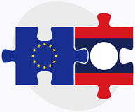 European Union and Laos Flags in puzzle Stock Image