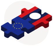 European Union and Laos Flags in puzzle Stock Images