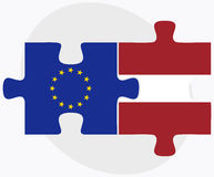 European Union and Latvia Flags in puzzle Stock Photography