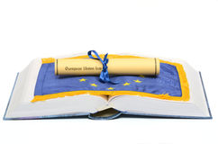 European union Law. On the European union flag , and Law book on the white background Royalty Free Stock Photography