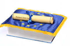 European Union Law. European union flag and Law book on the white background, law concept Royalty Free Stock Image