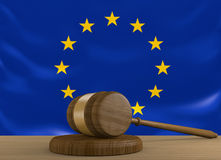 European Union law and justice system with EU flag Royalty Free Stock Photo
