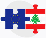 European Union and Lebanon Flags in puzzle Stock Photography
