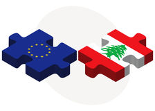European Union and Lebanon Flags in puzzle Stock Images