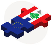 European Union and Lebanon Flags in puzzle Stock Photo