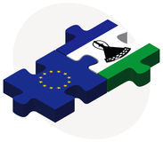 European Union and Lesotho Flags in puzzle Stock Photos
