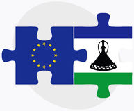 European Union and Lesotho Flags in puzzle Royalty Free Stock Images