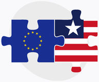 European Union and Liberia Flags in puzzle Stock Photography