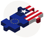 European Union and Liberia Flags in puzzle Stock Images