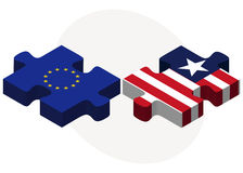 European Union and Liberia Flags in puzzle Stock Image