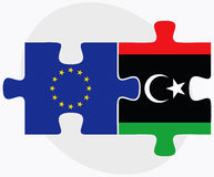 European Union and Libya Flags in puzzle Royalty Free Stock Images