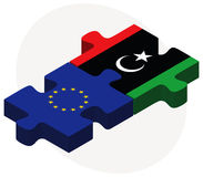 European Union and Libya Flags in puzzle Royalty Free Stock Photo
