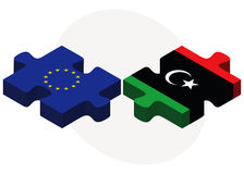 European Union and Libya Flags in puzzle Stock Photography